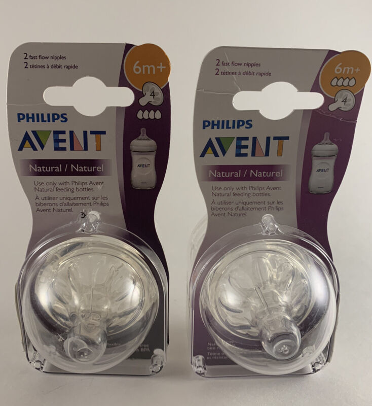 Set of (2) Philips Avent BPA Free Natural Fast Flow Nipples 6m+, 2-Pack