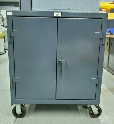 Strong Hold 2 Door 2 Shelves Heavy Duty Counter Height Mobile Cart Cabinet