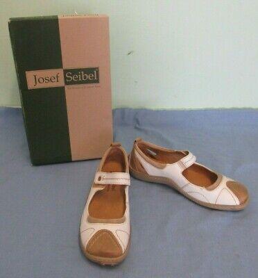 Josef Seibel Comfort Shoe Jasmin Size 37 Mary Janes Two Tone White Brown