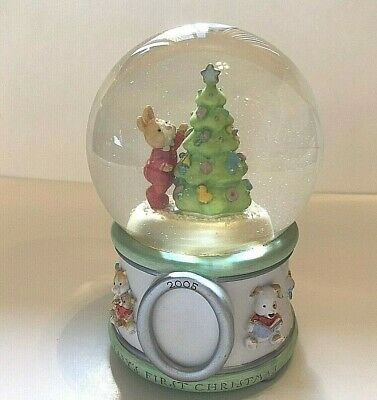 Hallmark Babys First Christmas 2005 Snow Globe Bunny Decorating Tree Holds Photo