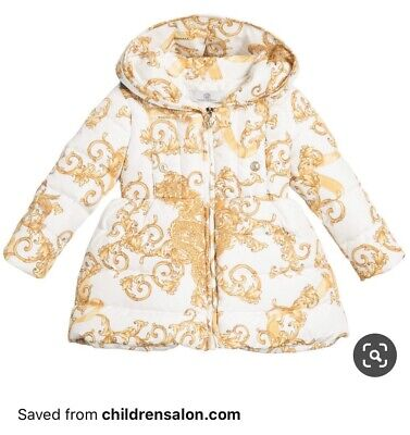 Young Versace Baby Girls Down Coat 12 Months Rrp £550