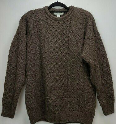 Orvis Mens Aran Fisherman Cable Knit 100% Pure Wool Sweater Large Brown Ireland