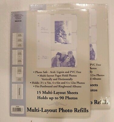 (2) Holson Multi-Layout Photo Album Refill   Postbound Ringbound Albums 15 -