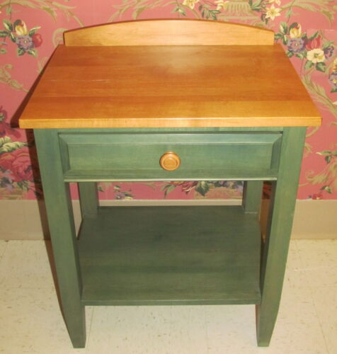 Ethan Allen Country Colors Forest Green with Wheat Night Table Stand 14 5406