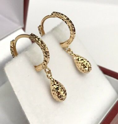 18k Solid Yellow Gold Cute Tear Drop Dangle Hoop Earrings, Diamond Cut 1.30Grams