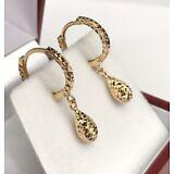18k Solid Yellow Gold Cute Tear Drop Dangle Hoop Earrings, Diamond Cut 1.30Grams
