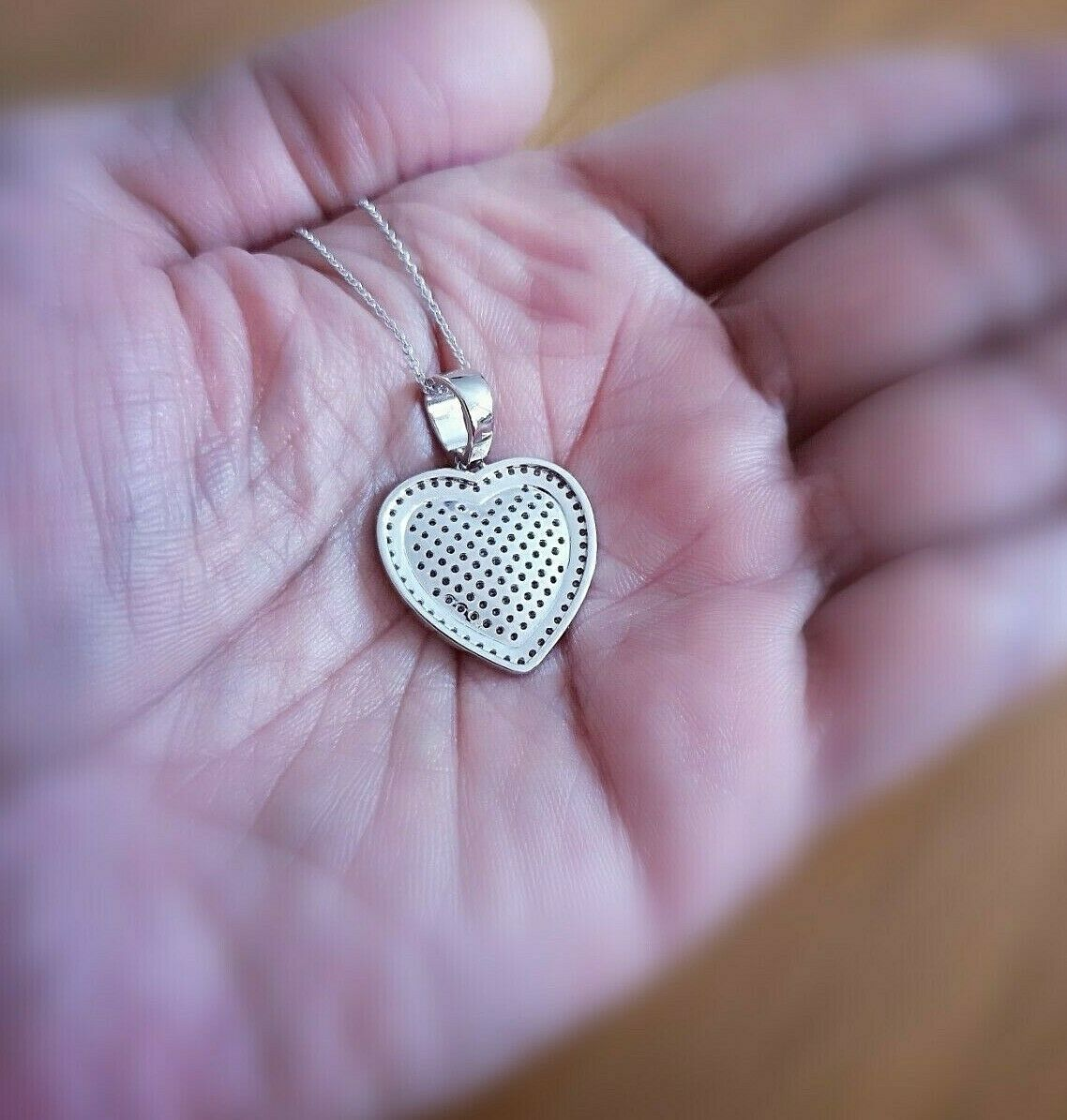1 Ct Diamond pendant with Chain Woman's Heart Diamond Necklace 14K White Gold 2