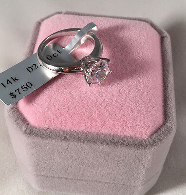 Ring - 2 CT ROUND CUT DIAMOND SOLITAIRE ENGAGEMENT RING 14K WHITE GOLD ENHANCED