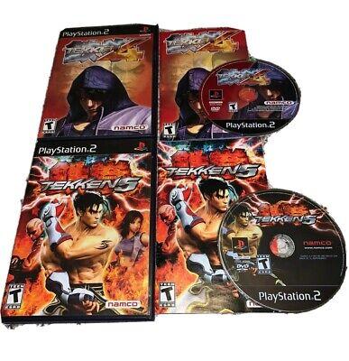 Tekken 4 & 5 Playstation 2 PS2 Lot COMPLETE Black Label Tested FAST SHIPPING