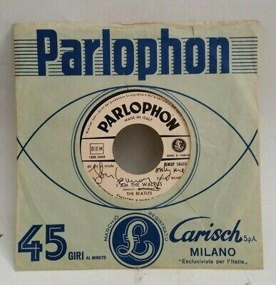 John Lennon Autographed I AM A WALRUS / HELLO GOODBYE (ITALY 45)