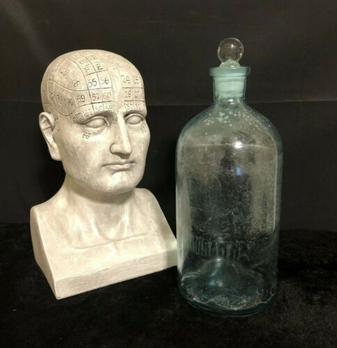 VINTAGE ANTIQUE LARGE APOTHECARY JAR WITH STOPPER