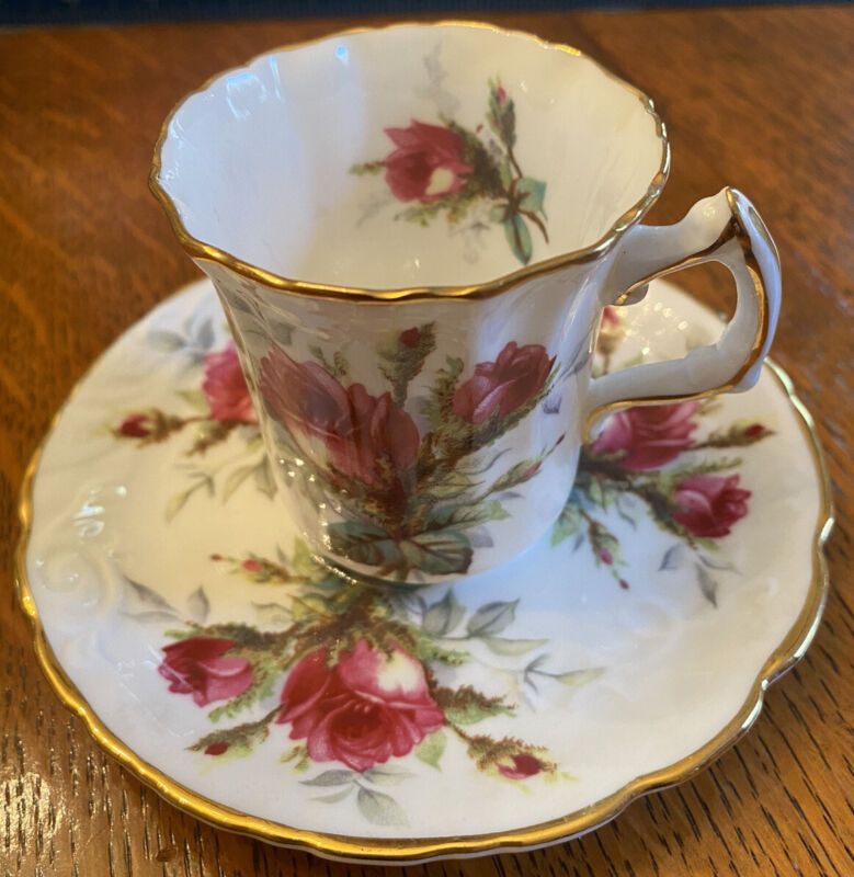 Hammersley Bone China Grandmothers Rose Demitasse Cup & Saucer Set EUC Beau