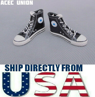 """1/6 Converse All Star Style Shoes Boots BLACK For 12"""" Hot Toys Male Figure USA"""