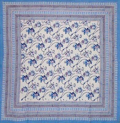 "Ajit Flowers  Block Print Square Cotton Tablecloth 60"" x 60"" Blue"