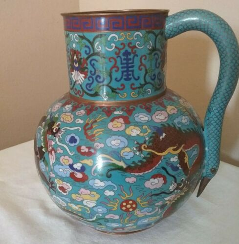 """Antique Chinese Cloisonne Dragon 11"""" Tall Pitcher Water Pot w/Crane Head Handle"""