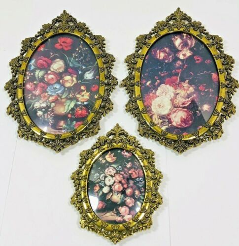 3 VTG Floral Oval Pictures Brass Frames Bubble Convex Glass Italy Victorian Art