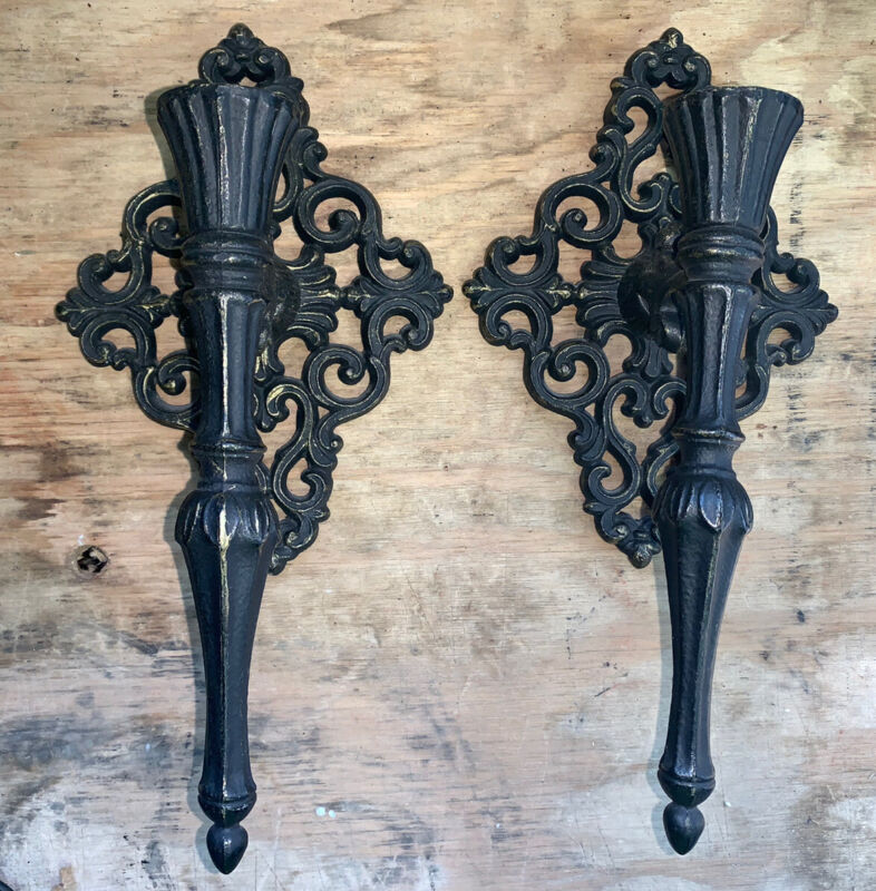 Vtg Old World Metal Wall Candle Sconces (pr) W/Choice Of Vtg Glass Votive Cups