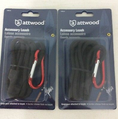 (2) Attwood Kayak Accessory Leash - 11912-5 - Black Cord/ Red Carabiner