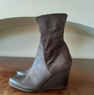 Henry Beguelin leather and stretch suede taupe wedge ankle boots, size 38, used