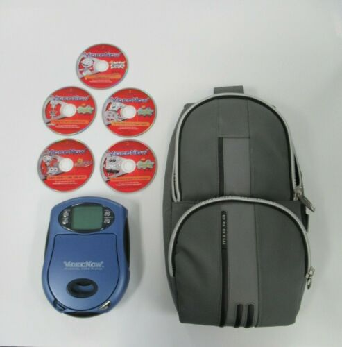 2003 VIDEO NOW PERSONAL VIDEO PLAYER BLUE BUNDLE CASE AND MOVIES