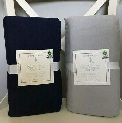 Pottery Barn Kids Organic Flannel Toddler Sheet Set Gray or Navy Blue -NWT