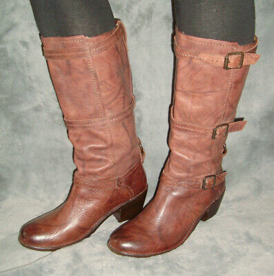 FRYE CARMEN 3 STRAP SADDLE BROWN DISTRESSED LEATHER RIDING  BOOTS SIZE -