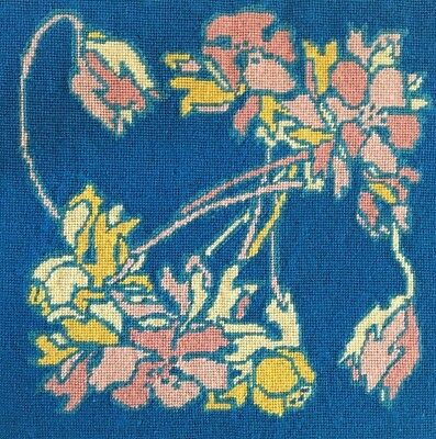 (Vintage 1975 Large Completed Needlepoint, Peach & Yellow Flowers on Blue )