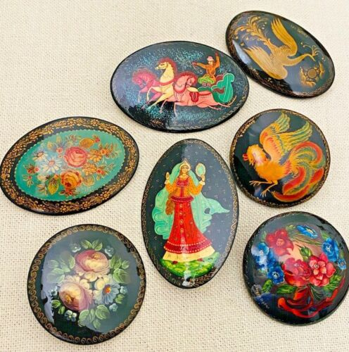 Lot of 7 Vintage Russian Black Lacquer Painted Brooch Pins Woman w/Mirror Horses