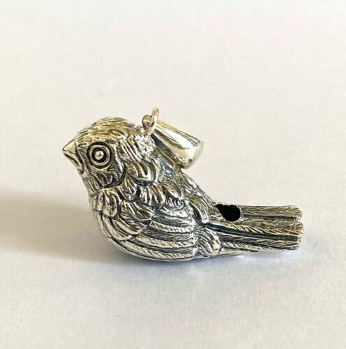 Victorian Style Bird Whistle Pendant Silver 925