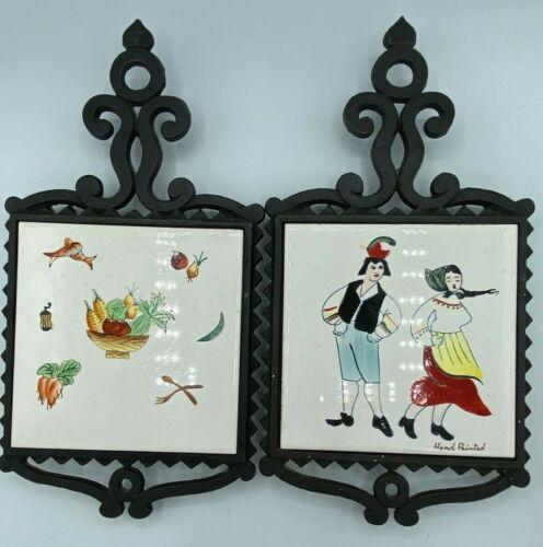 Cast Iron Footed Trivets Vintage Tiles Hand Painted Crown Japan Dutch Vegetables