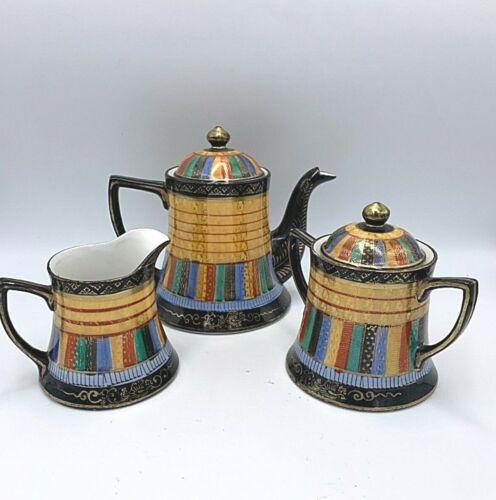 Vintage Japanese Porcelain Gold Hand Painted One Thousand Faces Tea Set RS Japan