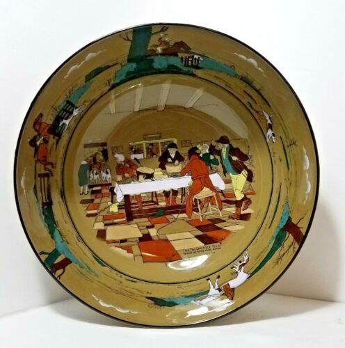 """1908 Buffalo Pottery Deldare Ware Large 12"""" Bowl Fallowfield Hunt, Breakfast"""