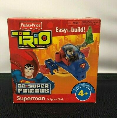 FISHER PRICE TRIO DC SUPER FRIENDS SUPERMAN and SPACE SLED T4448