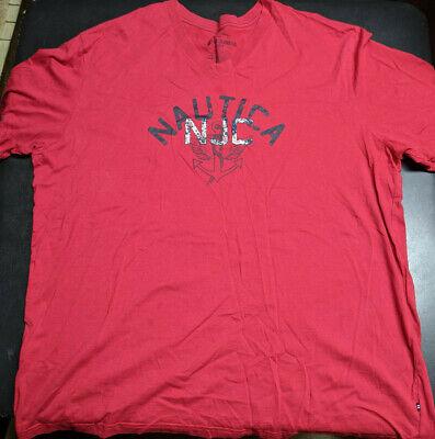 Nautica Jeans Co. Mens Pixel Graphic T-Shirt NJC Red 3XLT XXXLT V-Neck