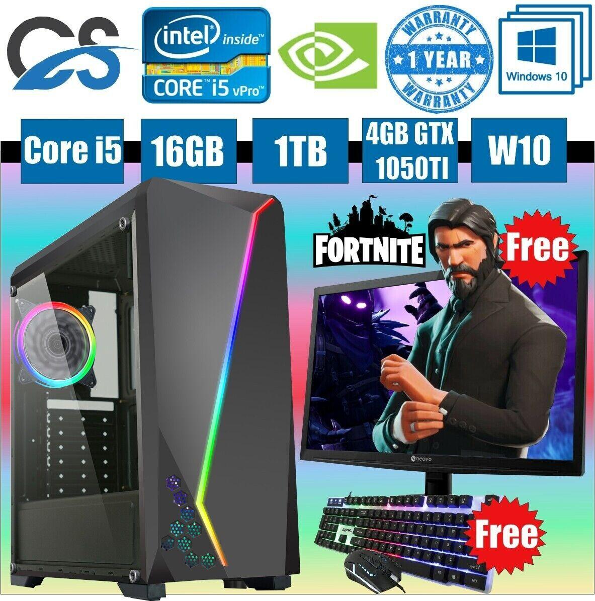 Computer Games - CiT C1007 Gaming Computer PC Bundle Intel Core i5 16GB 1TB GTX 1050TI 19'' LED