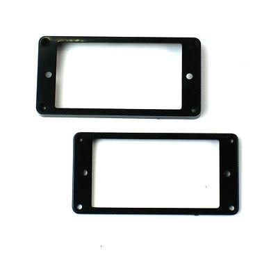Set of 2 Humbucker Pickup Mounting Rings bridge/neck ,Flat bottom Black ()