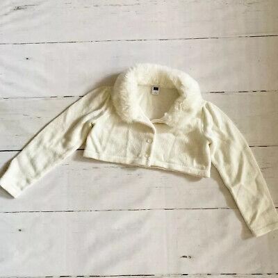 Janie & Jack Ivory Cropped Knit Sweater Jacket Faux Fur Collar Long Sleeve Sz 4