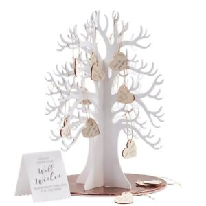 Ginger Ray Wooden Wishing Tree & Hearts Alternative Wedding Guest Book