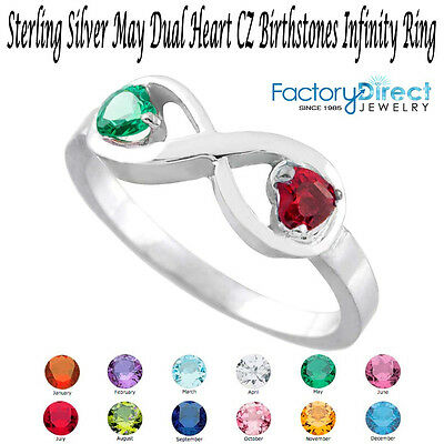 May Dual Heart Cz Birthstone Infinity Sterling Silver Rin...