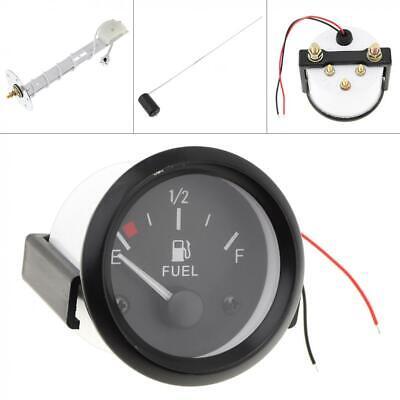 2'' 52MM 12V Universal LED Fuel Meter Automotive Gauges Level w/ Sensor Black US