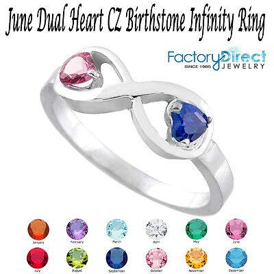 June Dual Heart Cz Birthstone Infinity Sterling Silver Ri...