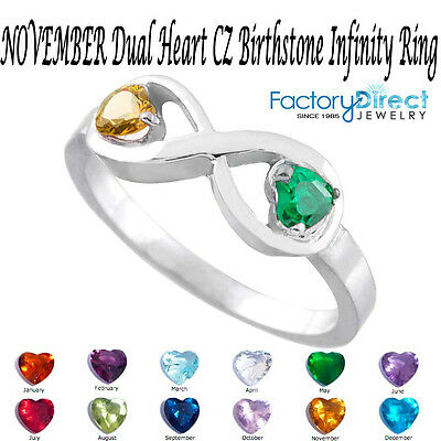 November Dual Heart Cz Birthstone Infinity Silver Ring Mi...