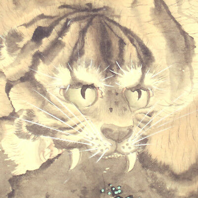 HANGING SCROLL JAPANESE KAKEJIKU ANTIQUE / Tiger Painting by A-nan-you  阿南洋 #445 for sale  Shipping to Canada