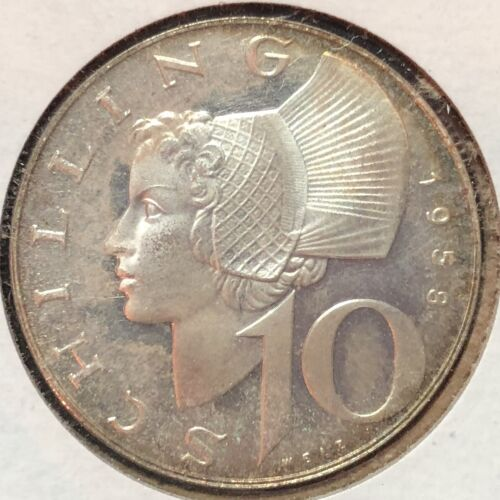 1958 10 Schilling Proof Austria Toned Cameo World Coin KM# 2882 Rare Low Mintage