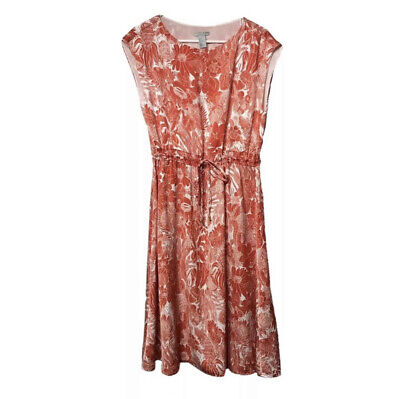 H&M Womens 4 Casual Summer Dress Sleeveless Tassel Tie Waist Red White Floral
