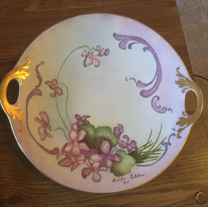 """1954 Hand Painted  Floral Serving Plate 10"""" With Handles, gold trim, Signed"""