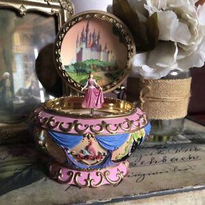 W/BOX Disney Sleeping Beauty Music Box Princess Aurora Jewelry Box PINK Dress