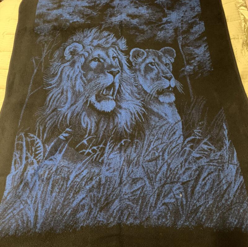 Vintage San Marcos Blanket Lion and Lioness Reversible Blue Black Cream 86x56