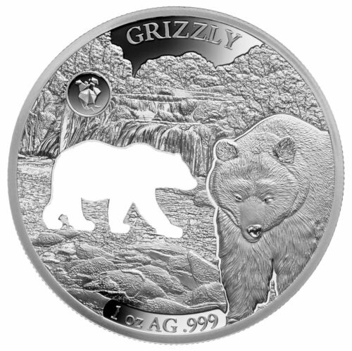 2020 Barbados Shapes America Cut-Out HR 1 oz Proof-Like Silver Grizzly SKU59242