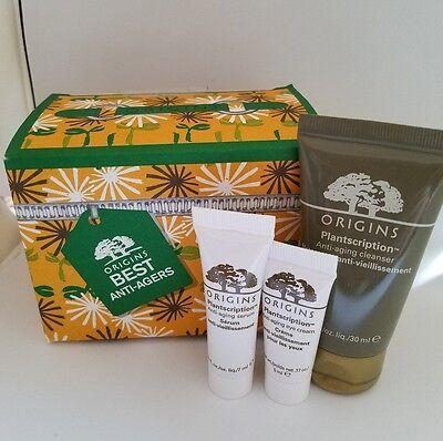 Origins Plantscription Set Cleanser Serum Eye Cream Anti Aging Travel Size Lot